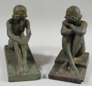 American School 20th Century Pair of Plaster Bookends of Seated Female Nudes