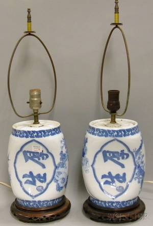 Pair of Japanese Blue and White Porcelain PillowsTable Lamps