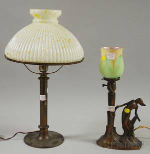 Art Deco Cast Metal Figural Table Lamp with Favriletype Pulled Feather Art Glass Shade and a Bronze Patinated Table Lamp with Iridesce