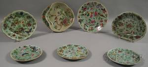 Seven Pieces of Floral Bird and Insectdecorated Celadonglazed Chinese Export Porcelain