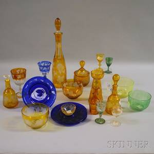 Nineteen Pieces of Assorted Bohemian Mostly Etched Colored Art Glass Table Items