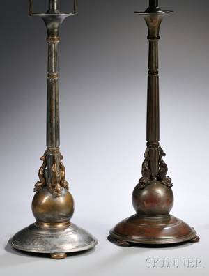 Pair of Oscar Bach Art Deco Silverplated Cast Bronze Columnar Table Lamps with Dolphin and Orb Bases