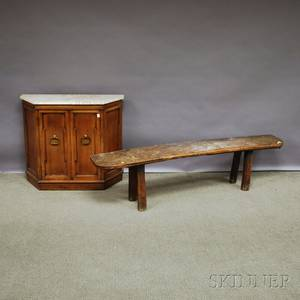 English Elmwood Dshaped Bucket Bench with Splayed Legs and a Baroquestyle Marbletop Fruitwood Side Cabinet