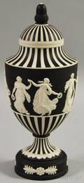 Wedgwood Black Jasper Dip Dancing Hours Vase with Cover