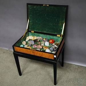 Ebonized and Inlaid Burlwood Veneer Lidded Collectors Table Containing Approximately Fifty Small Geodes