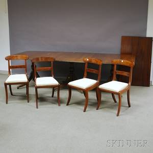 Georgianstyle Mahogany Threepart Pedestalbase Dining Table and a Set of Four Classical Mahogany Side Chairs with Upholstered Slip Se