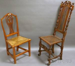 Jacobeanstyle Caned Carved Beechwood Side Chair and a Country Federal Birch and Cherry Side Chair with Rush Seat