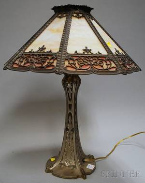 Bradley  Hubbard Cast Metal Table Lamp with Octagonal Metal Overlay Slag Glass Panel Shade