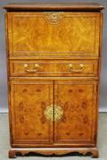 Lane Furniture Asianstyle Brassmounted Burlwood Veneer Liquor Cabinet