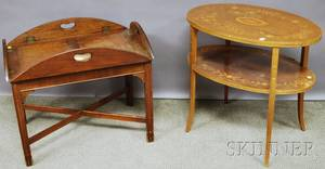 Chippendalestyle Mahogany Butlers Tray Table and an Edwardian Oval Inlaid Mahogany Veneer Twotier End Table