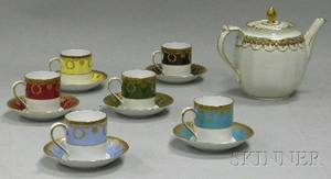 English Gilt and Handpainted Porcelain Staffordshire Teapot and a Set of Six Hutschenreuther Gilt and Banded Porcelain Demitasse Cups