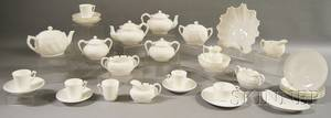 Thirtytwo Pieces of Knowles Taylor  Knowles Lotus Ware Porcelain Teaware
