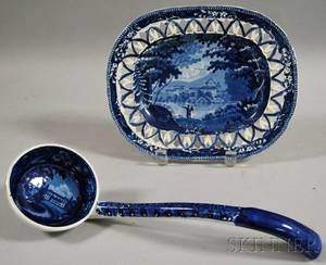 English Blue Transferdecorated Staffordshire Platter with Reticulated Rim and an R Hall Terwin Water Hertfordshire Scenery Pattern St