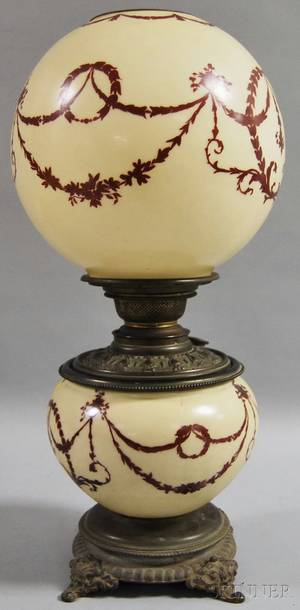 Handpainted Neoclassicalstyledecorated Opaque Glass Gonewiththewind Table Lamp