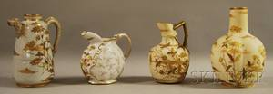 Four Ott  Brewer Belleek Gilt and Enameldecorated Porcelain Items