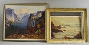 Two Framed Oil on Canvas Landscape Paintings Abraham Rosenthal American 18861963 Seascape