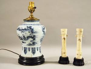 Delft Chinesestyle Blue and Whitedecorated Ceramic JarTable Lamp and a Pair of Japanese Carved Ivory Candlesticks with Wood Bases