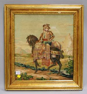 Framed Needlework Depicting a Horse and Rider