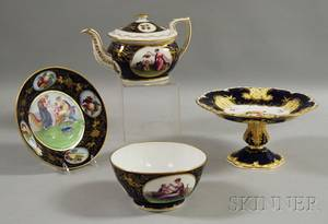 Threepiece English Gilt Transfer and Handpainted Genre and Fruitdecorated Porcelain Partial Tea Service and a Similar Gilt and Han