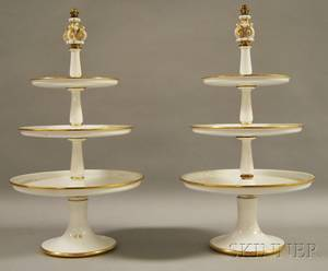 Pair of Threetiered Porcelain Dessert Trays
