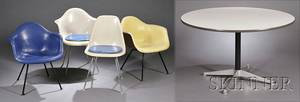 Charles Eames for Herman Miller Table and Four Fiberglass Chairs