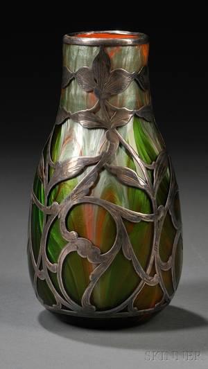 Realized Price For Loetz Titania Metal Overlay Vase