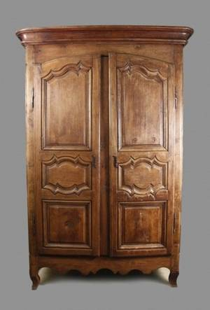 French Provincial Oak Two Door Armoire
