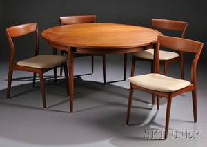 Danish Modern Dining Table and Four Side Chairs