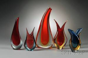 Five Sommerso Vases in the Manner of Flavio Poli for Seguso Vetri dArt