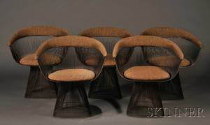 Set of Five Warren Platner for Knoll Armchairs