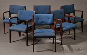 Set of Six Jens Risom Armchairs