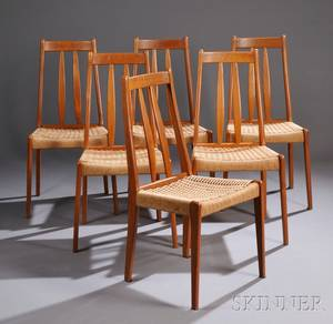 Six Danish Modernstyle Teak Side Chairs