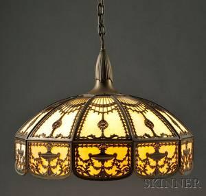 Bradley  Hubbard Metal Overlay Hanging Lamp