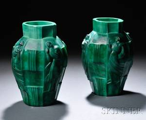 Pair of Curt Schlevogt Art Deco Malachite Glass Vases