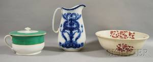 Flow Blue Ceramic Chamber Pitcher a Transferdecorated Chamber Basin and a Chamber Pot