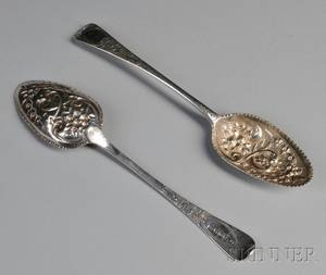 Two English George III Silver Berry Spoons