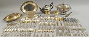 Group of Silverplated Flatware and Serving Items