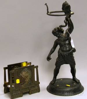 Arts  Crafts Cast Metal Native American Portrait Letter Rack and a Victorian Blackpainted Cast Metal Bacchus Figural Newell Post Fini