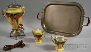 Fourpiece FraunfelterRoyal Rochester Royalite Art Deco Ceramic and Metal Coffee Service