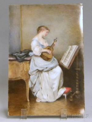 Handpainted European Interior Scene on Porcelain Depicting a Woman Playing a Lute