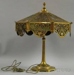 Octagonal Brass Overlay Slag Glass Panel Table Lamp with Cast Brass Base