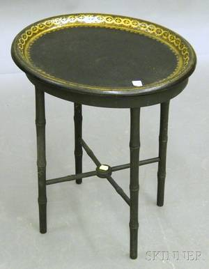 Small Victorian Oval Giltdecorated Black Lacquered Papiermache Tray on a Blackpainted Faux Bamboo Stand