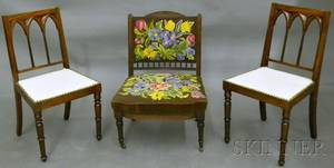 Pair of Victorian Gothic Revival Upholstered Carved Mahogany Side Chairs a Victorian Aesthetic Upholstered Carved Walnut Slipper Ch