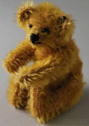 Early Small Jointed Golden Mohair Steiff Teddy Bear