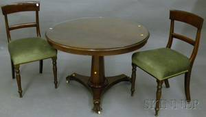 Empire Mahogany Tilttop Pedestalbase Breakfast Table with a Pair of Upholstered Mahogany Side Chairs