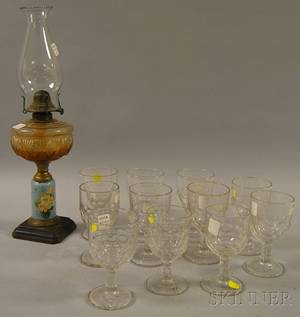 Late Victorian Colorless Pressed Glass Kerosene Table Lamp and Eleven Colorless Pressed Honeycomb Pattern Glass Goblets