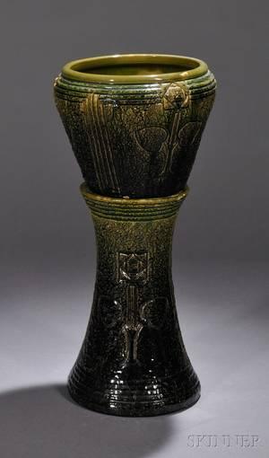 Roseville Pottery Green Majolica Glazed Mostique Pattern Jardiniere on Pedestal