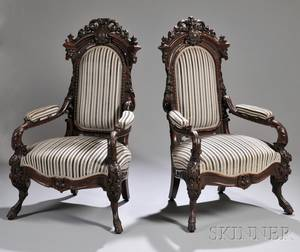 Pair of Victorian Renaissance Revival Upholstered Carved Walnut Parlor Armchairs