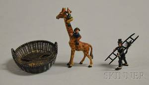 Austrian Miniature Coldpainted Bronze Figure of a Chimney Sweep a Comic Characters Climbing a Giraffe Figural and a Silver Wirework