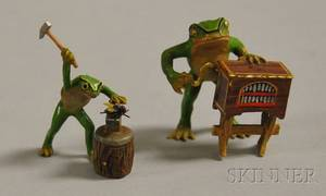Austrian Miniature Coldpainted Bronze Figure of a Frog with a Street Organ and a Figure of a Frog Using a Hammer to Hit a Fly on an
